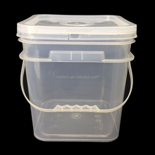Food grade 10L clear square plastic bucket for food packing with lid