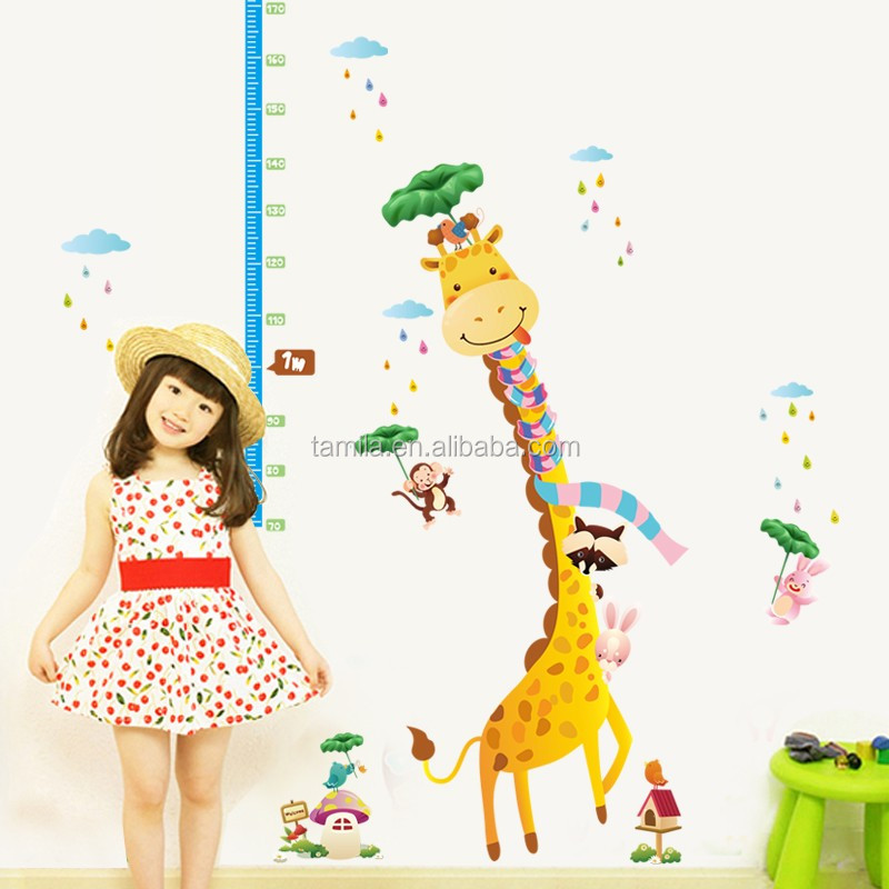 Good price reusable cartoon giraffe PVC height removable waterproof growth chart kids room wall decor stickers for kids