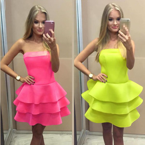 F20444A High quality ladies western party wear dresses one piece girls party dresses strapless flounced boutique dress for women