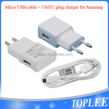 wholesale cell phone accessory 2A EU US Plug Charger + USB Data Cable For Samsung