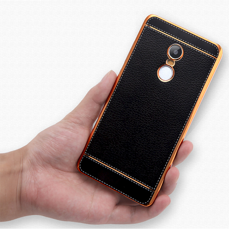 Luxious New Litchi Grain PU Leather + Plating TPU Soft Case Cover For Xiaomi redmi note 4 3 Back Cover Case For Redmi note 4