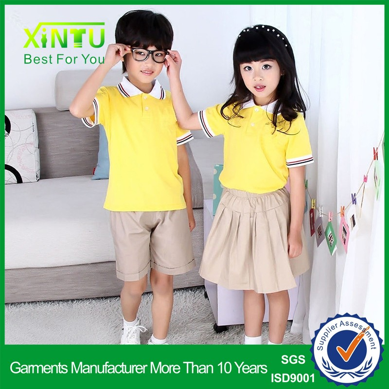 Custom top quality blank cheap school uniform by clothing manufacturer