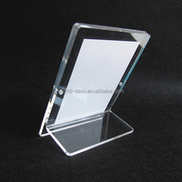 Clear restaurant menu holder , acrylic menu stand , table display stand