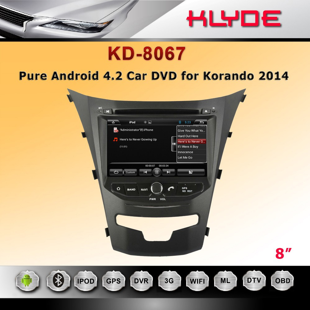Car GPS Navigation with Android 4.2 System 8 inch 2din for Korando 2014