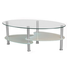 Fancy oval bent glass coffee table