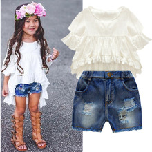 wholesale beautiful baby grils clothes cute white shirt and pants clothing set