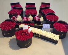 Luxury gift waterproof hat flower box set for rose flowers pacakge