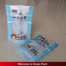 Hot sale plastic packaging zipper stand up pouch coconut sugar bag with clear window