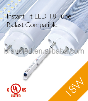 DLC, UL,CUL approved, Instant fit LED T8 tube (Ballast Compatible)