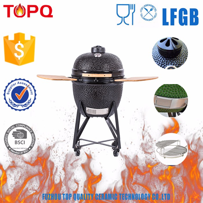 Portable and Vertical Heat Product Kamado Ceramic Charcoal Barbecue Grill on Cast Iron Stand