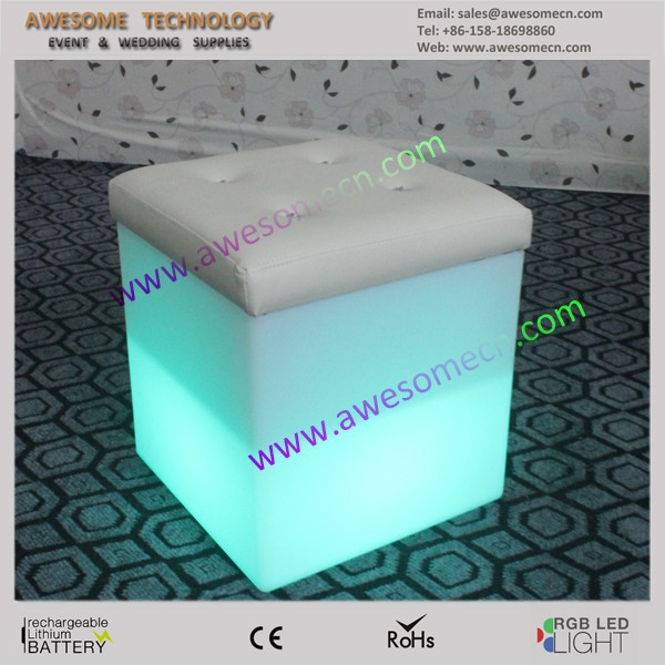 Single White Leather Cube with led lighting