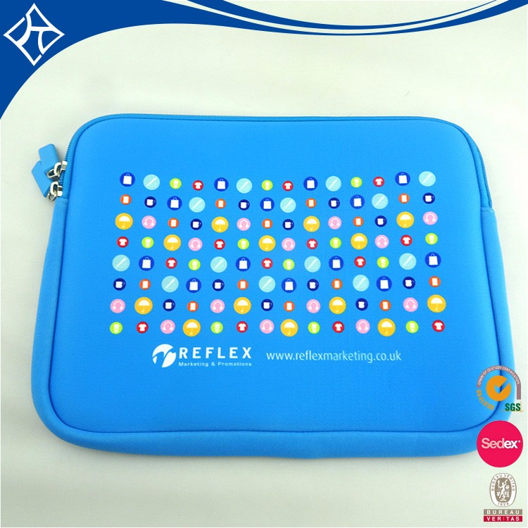 wholesale Blue Neoprene Reversible Disposable Felt Laptop Sleeve