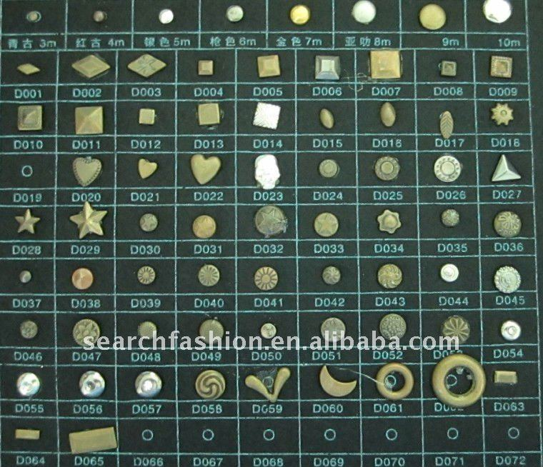various designs hot fix copper studs dome studs of chinese quality
