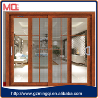three track aluminum frame glass sliding door with mosquito netting