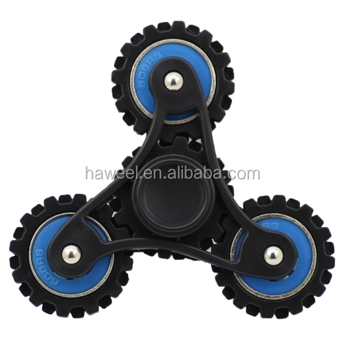 Wholesale 4 Minutes Rotate Wheel Gears Fidget Spinner Toy Stress Reducer Anti-Anxiety Toy in blue