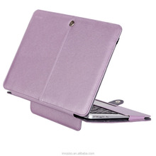 Mosiso PU Leather Book Folio Stand Case for MacBook Air 13 Inch (Models: A1466 and A1369) - Silky Light Purple