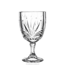 China glass factory xinmin glassware cheap stocked patterned glass goblet
