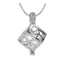 silver Love Heart square cube cage Locket Pendant can fit 6-8 mm pearl