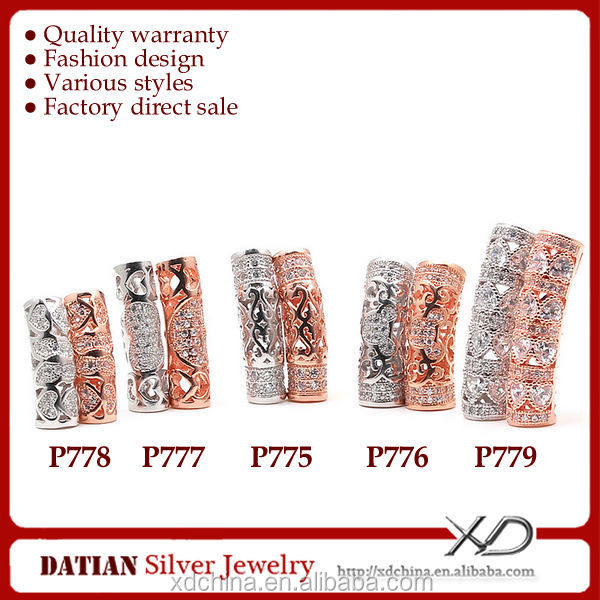 XD 140520232039 Various tubes with fancy cz stones hot sale sterling silver charm