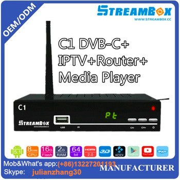 Set Top Unit Hot digital tuner DVB-C Cable Receiver C1 Receiver IPTV Full HD 1080p PVR Digital dvb c usb tv tuner for Singapore