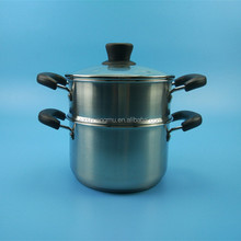 Multi-Purpose double handle 2 Layer Stainless Steel Steamer Stock Pot With Glass Cover
