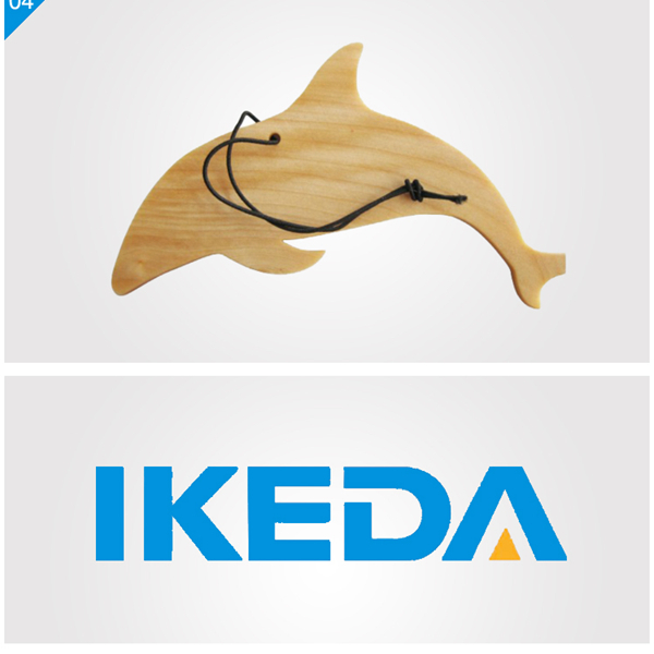 Beech Wood Piece Air Freshener- dolphins shape wood air refreshers