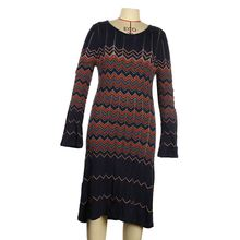 Women vintage black wave dress long sleeve winter dress