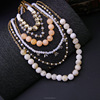 Latest multilayers pearl necklace design,gold jewelry for fashion lady(PR1201)