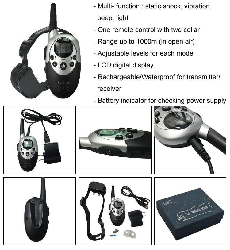 Dog training shock collar with Battery indicator for checking power supply