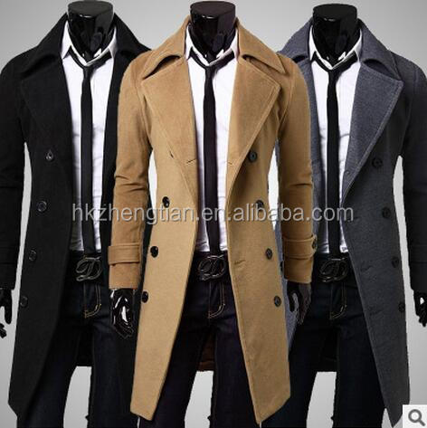 2016 fashion long jacket men New korean style woolen men coat long double breasted men coat 3colors M_XXL