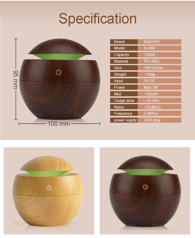 Diffuseur d'huiles essentielles USB KBAYBO bois, aromathérapie, caractéristiques techniques