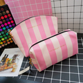 Pu Leather Cosmetic bags wholesale, cosmetic bag set organzer,Pink stripe printed custom