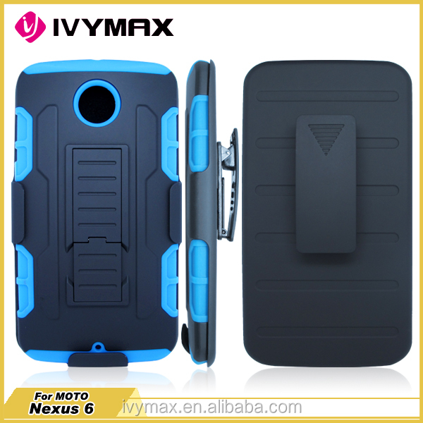 IVYMAX Low Price Shock Proof Holster protective case cover for Motorola Nexus 6 with Belt Clip and Kickstand
