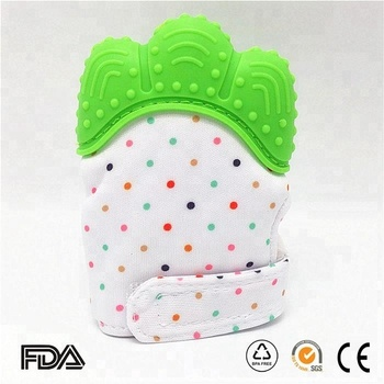 2018 wholesale BAP free TEETHING MITTEN soft silicone baby molar glove