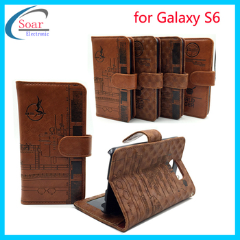 Top quality Alibaba China Sublimation Wholesale Printing Leather Flip Cover For Samsung Galaxy S6