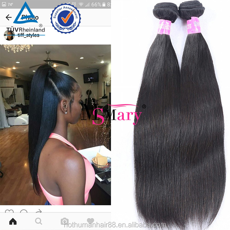 Can Be Bleached And <strong>Thick</strong> From Weft To The End 8A Grade Brazilian Hair Silky Straight Hair Top Quality No Shedding No Tangle