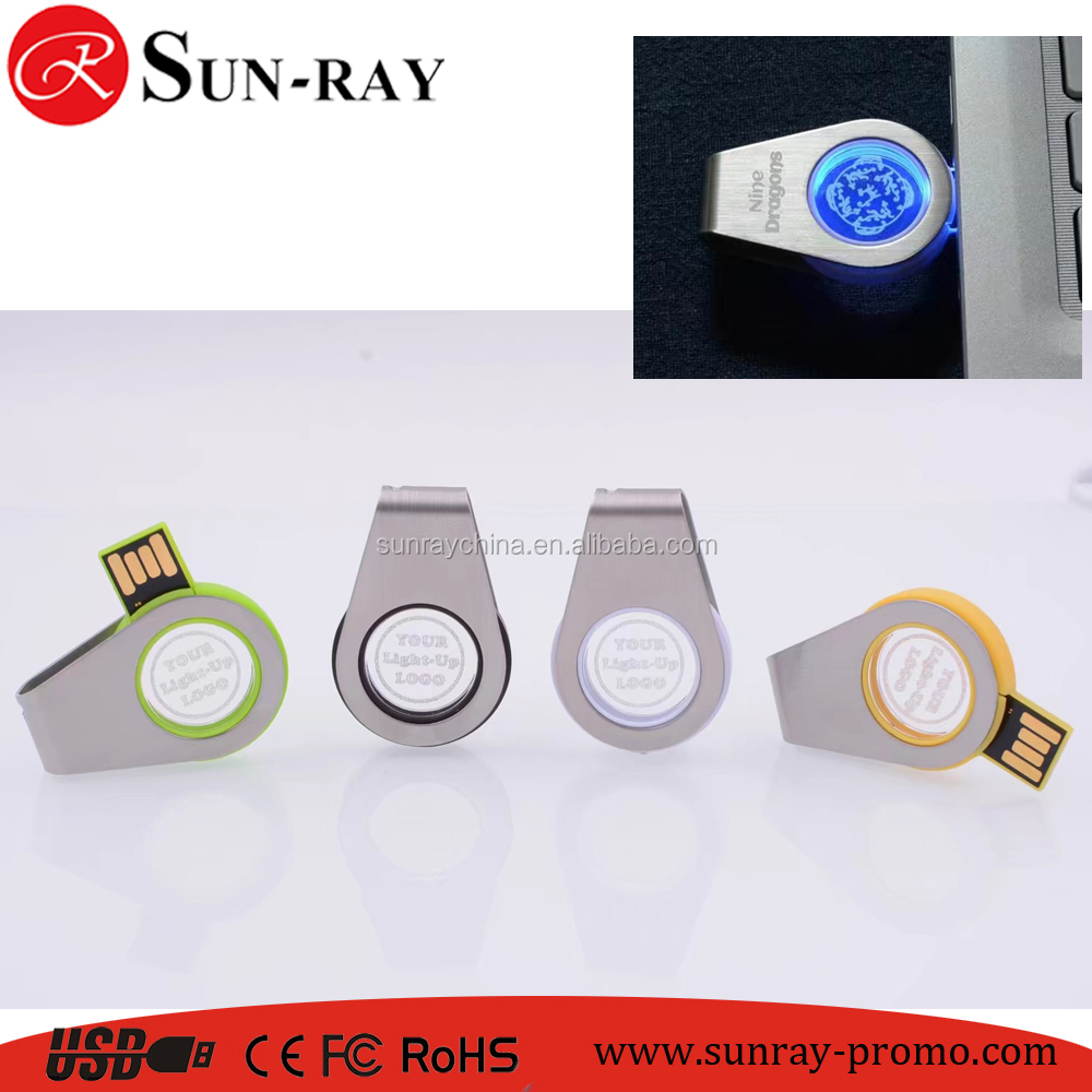 light-up logo usb key in swivel design usb thubdrive
