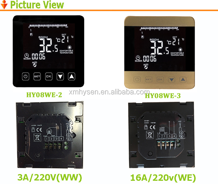 Automatic touch screen thermostat for heat trans