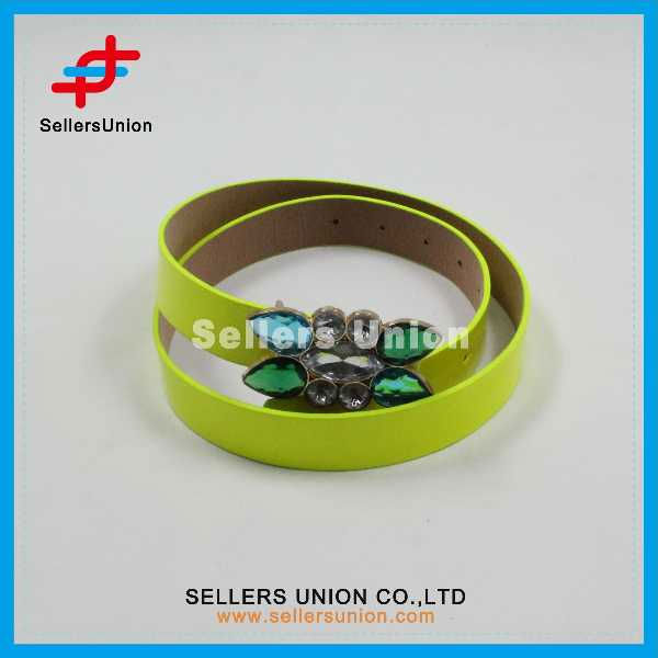 Bright Color Women Belt With Crystal Decoration