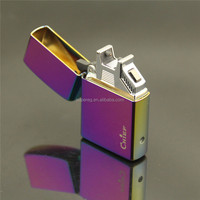 Factory Price Electroplate Style Rechargeable torch lighter Dual arc clipper lighter bic