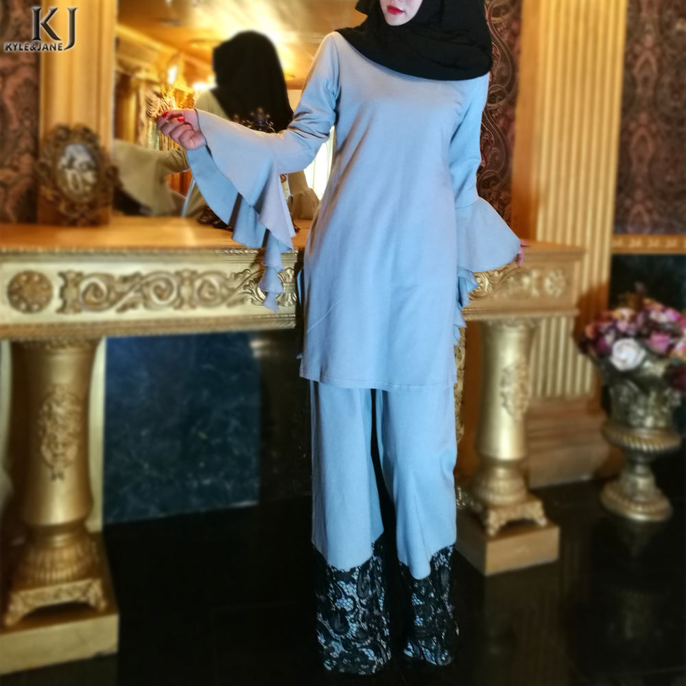 2018 Kyle&Jane New Design100% cotton Islamic Baju Kurung abaya For Women modern lace top and pant muslim suit