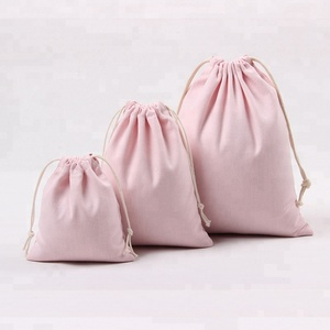 Pink Color Cheap Custom Canvas Hemp Drawstring Bag