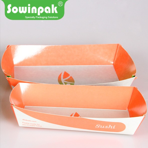 Brand new recycled nested hot dog sushi paper covered food trays