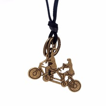Popular Sports Double Ride Bicycle Pendant Genuine Leather Long Chain Necklace