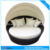 U Outdoor rattan furniture round canopy beach sun bed (GB-10D)