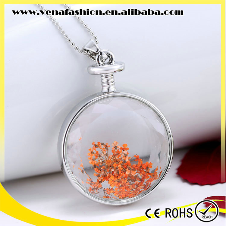 free sample real flowers cage vial glass locket pendants