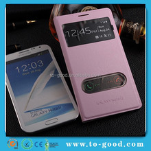Fashion Dual-Windown Design Leather Flip Cell Phone Cover Case For Samsung Galaxy Note 2 N7100 Covers