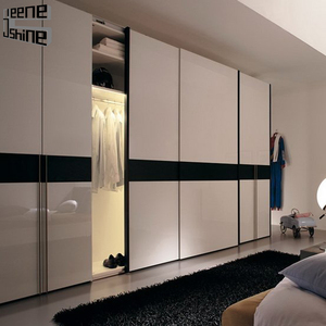 modern high gloss sliding double color glass door bedroom wardrobe design furniture