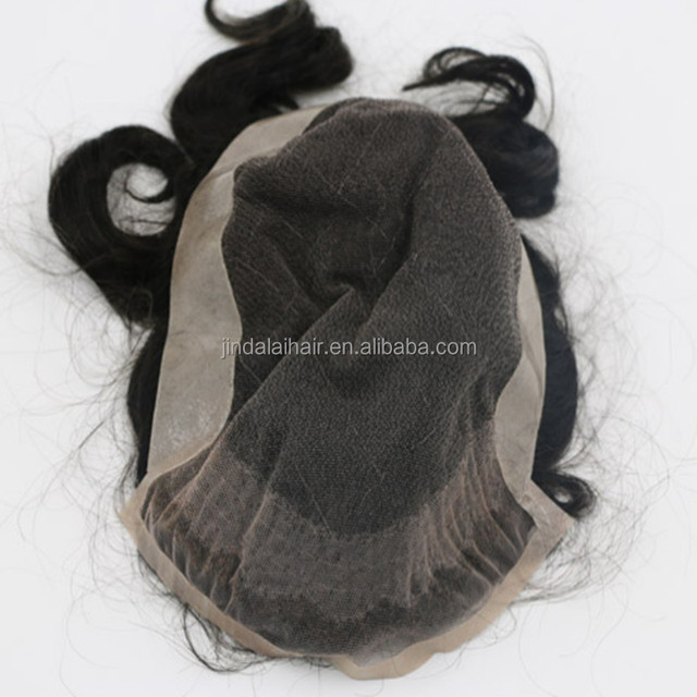 In Stock Invisible Breathable Full Lace Men's Human Hair Pieces Toupee with Bleached Knots
