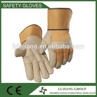 LJ-MS2517A Jean and rubber cuff furniture leather hand gloves, leather work gloves